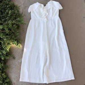 Adelyn Rae white strapless wide leg  jumpsuit